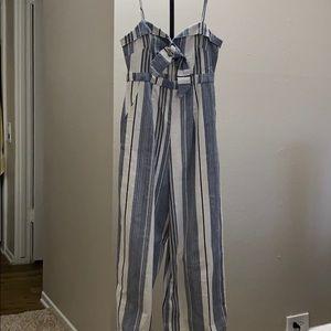 Blue stripe jumpsuit